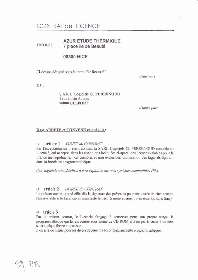 Contrat de licence du logiciel (1/3)