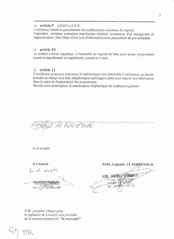 Contrat de licence du logiciel (3/3)